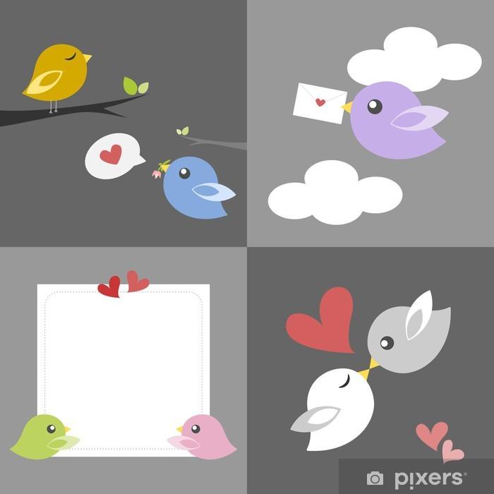Sticker Pixerstick Carte de l'amour des oiseaux - Couples