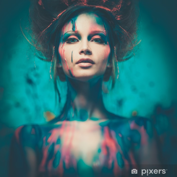 Young woman muse with creative body art and hairdo Framed Poster - Destinations