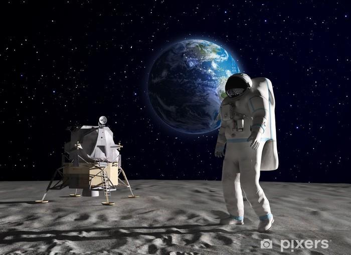 Pixerstick Sticker Astronaut op de maan - Ruimte