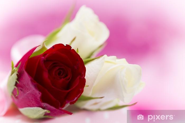 Vinyl-Fototapete Natürliche rote Rosen Hintergrund - Fabelwesen