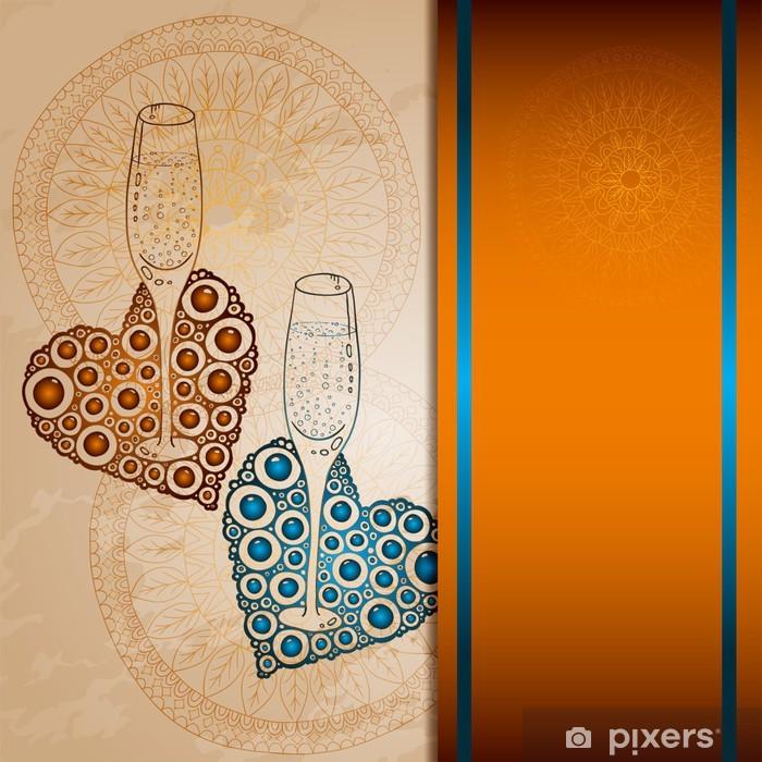 Naklejka Pixerstick Love karty z szampana i serca, ilustracji wektorowych - Znaki i symbole