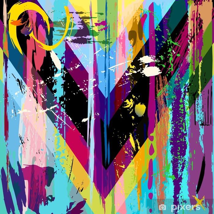 Vinyl Fotobehang Abstracte achtergrond, met lijnen, spatten en geometrische lijnen - Thema's