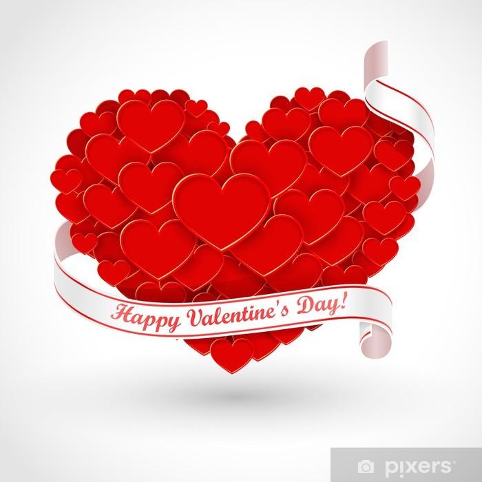 Naklejka Pixerstick Wielkie serce z wstążką - Święta międzynarodowe