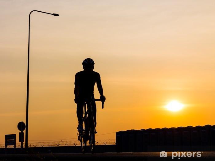 man biking on the road Pixerstick Sticker - Individual Sports