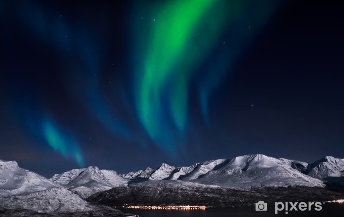 Northern lights above fjords in northern Norway. Self-Adhesive Wall Mural - Themes