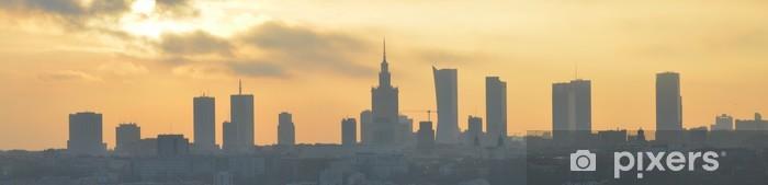 Fototapeta winylowa Warszawa zachód słońca, panorama, - Tematy