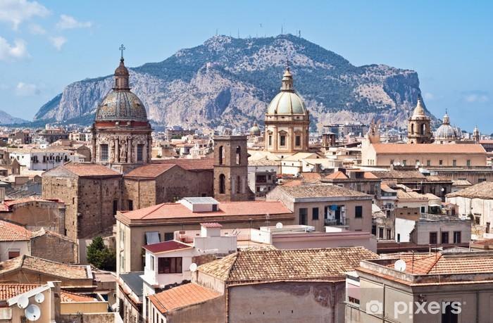 Carta Da Parati A Palermo.Carta Da Parati In Vinile Veduta Di Palermo Con Vecchie Case E Monumenti