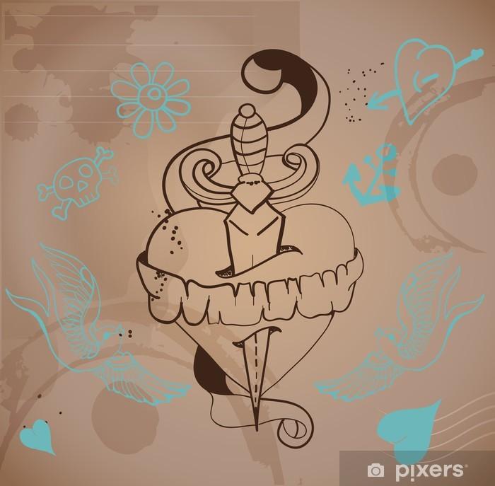Plakát Old-school stylu tetování srdce s květinami a dýkou - Mezinárodní svátky