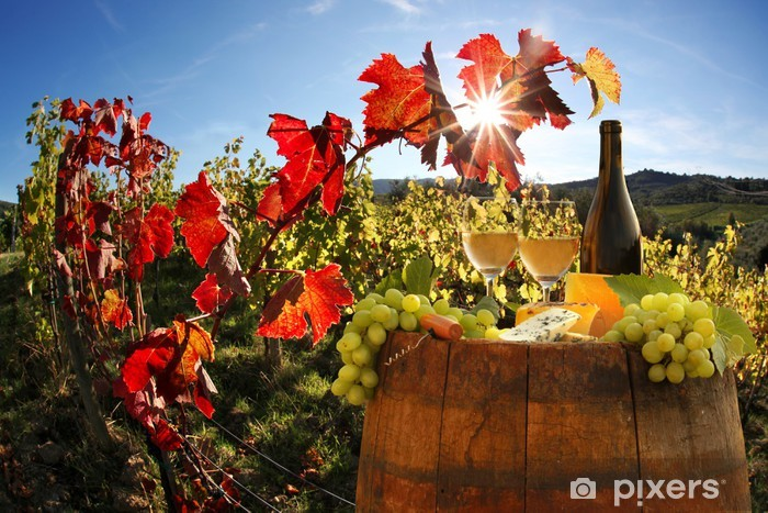 White wine with barell in vineyard, Chianti, Tuscany, Italy Vinyl Wall Mural - Themes