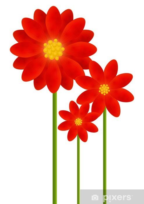 Sticker Pixerstick Les fleurs rouges pour votre conception - Saisons