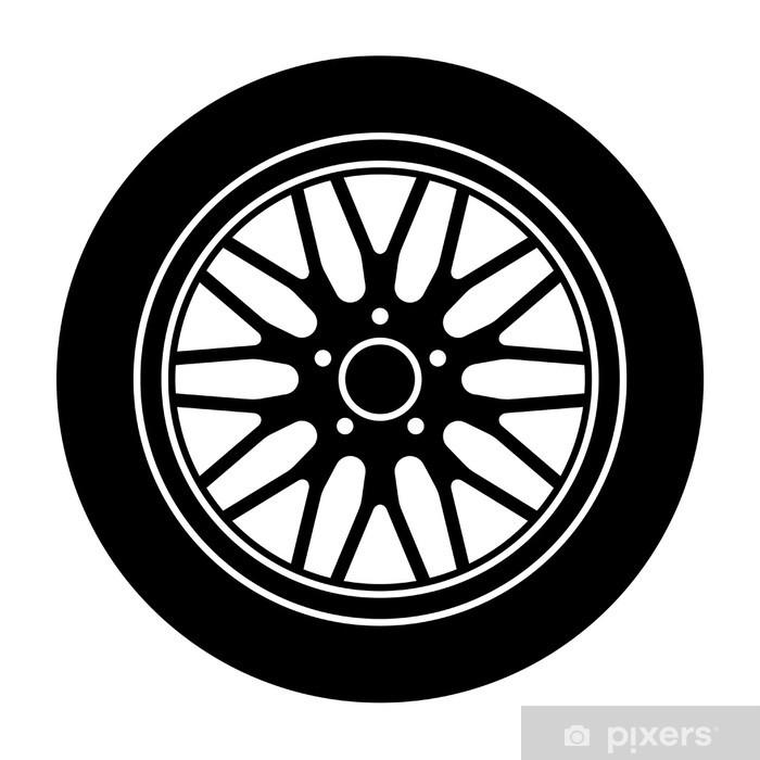 Plakat w ramie Aluminiowe koła samochodu wektor czarny, biały, Symbol - Transport drogowy