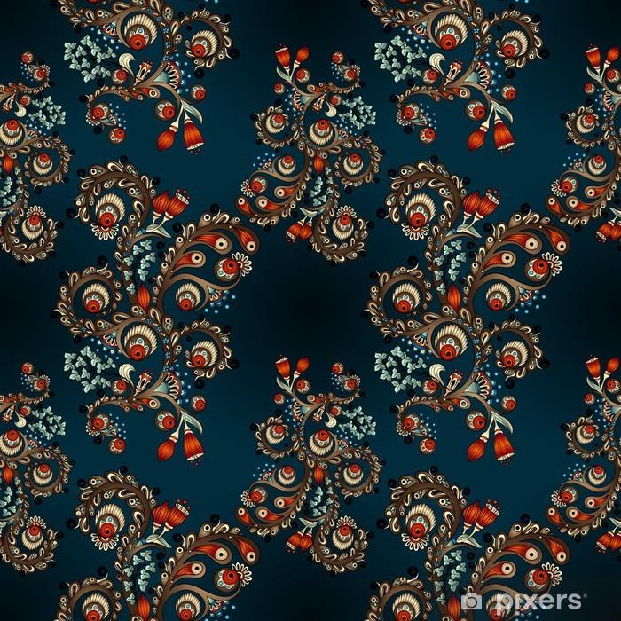 Papier peint vinyle Seamless floral avec des griffonnages et concombres - Finance