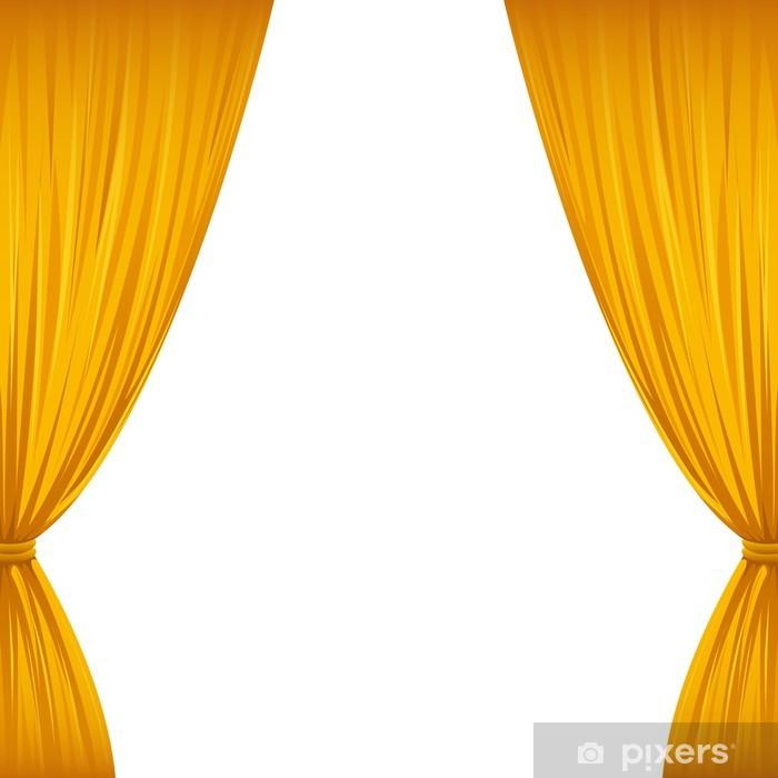 fotobehang gouden gordijnen vinyl