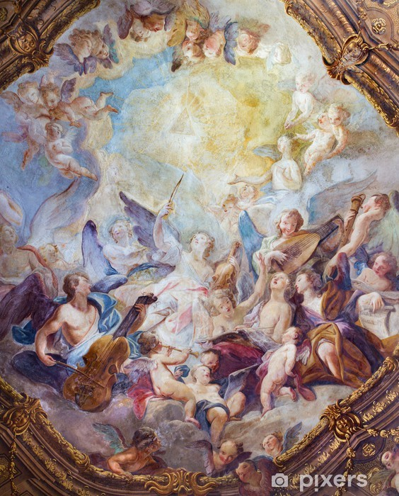 Papier peint vinyle Vienne - chœurs d'anges baroques fresque de Michaelerkirche - Thèmes