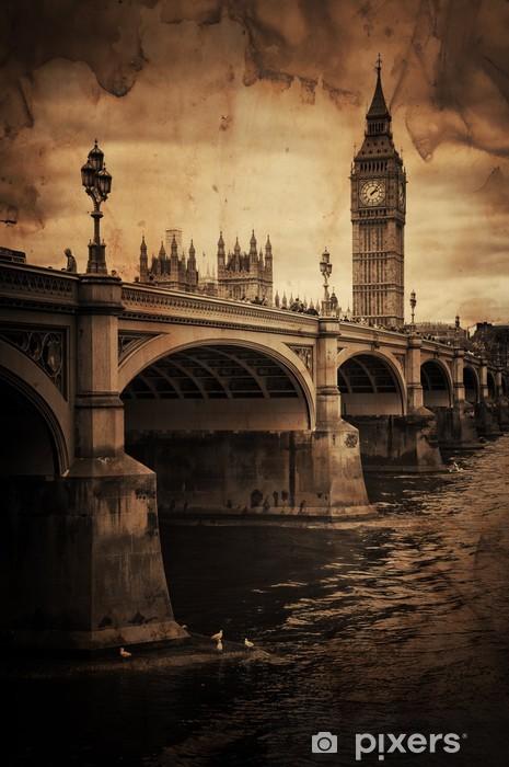 Vinyl Fotobehang Aged Vintage Retro Foto van de Big Ben in Londen - iStaging