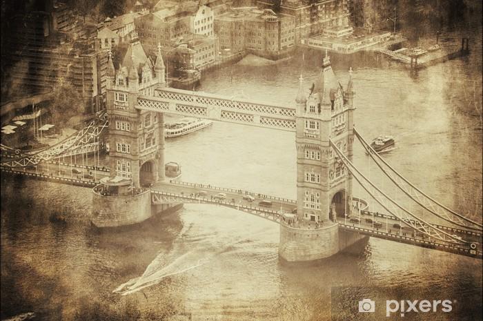 Carta da Parati Autoadesiva Retro Immagine del Tower Bridge di Londra, Regno Unito - Temi
