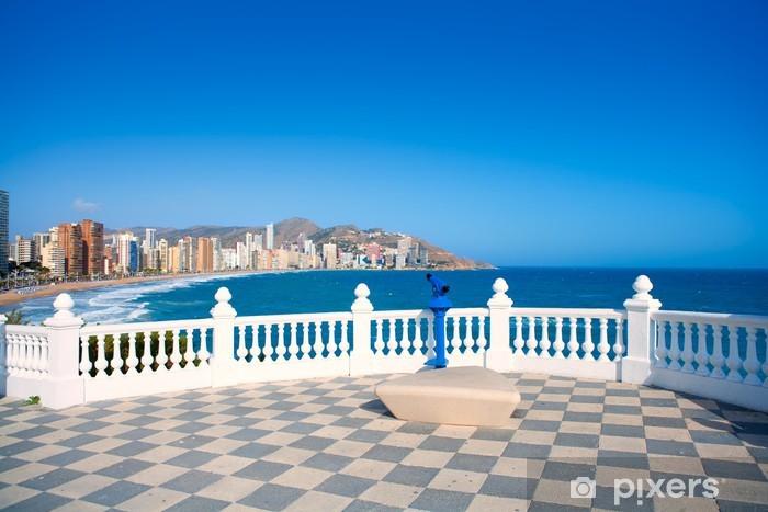 Fotomural Estándar Benidorm balcon del Mediterraneo sea from white balustrade - Europa
