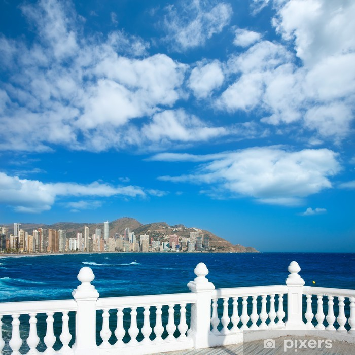 Benidorm balcon del Mediterraneo sea from white balustrade Vinyl Wall Mural - Europe