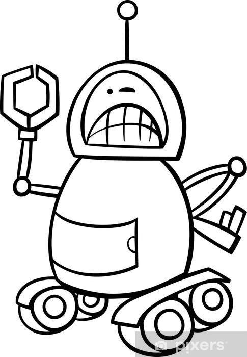 Kızgın Robot Karikatür Boyama çıkartması Pixerstick Pixers