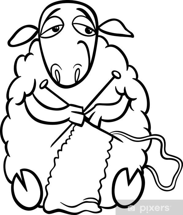 knitting sheep coloring page Wall Mural - Vinyl