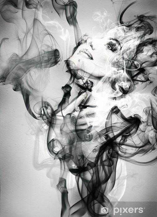 Naklejka Pixerstick Abstrakcyjny portret kobiety. Akwarele ilustracji - Moda