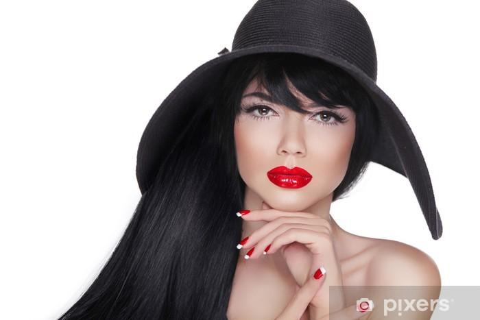 Papier peint vinyle Mode femme brunette avec de longs cheveux dans le chapeau noir isol - Femmes