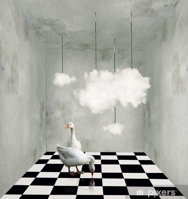 Carta da Parati in Vinile Nuvole e anatre in una stanza surreale - Altri sentimenti