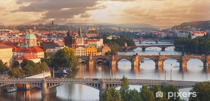 Fotomural Estándar Praga, vista del río Vltava y puentes - Praga