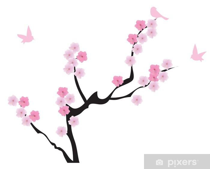 Fotomural Vector árbol De Cerezo En Flor Con Aves