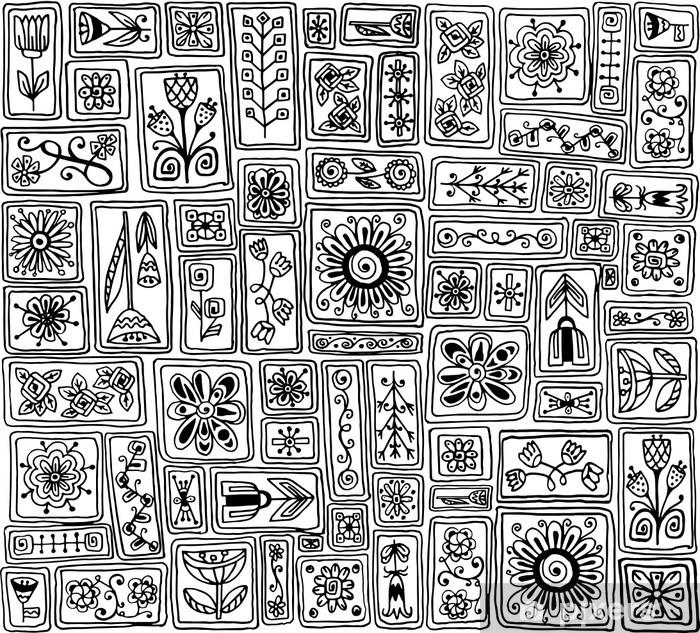 Papier peint vinyle Seamless. Sampler doodle fleurs, des feuilles, des coeurs. - Fleurs