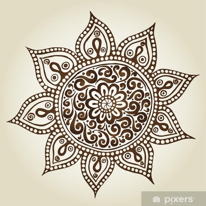 Plakat Mandala. Okrągły ornament. Ozdobne kwiaty. - Abstrakcja