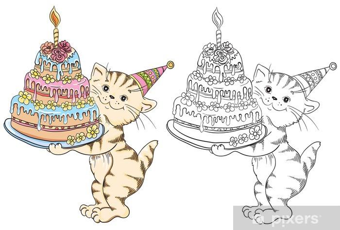 Doğum Günü Pastası Ile Karikatür Kedi Ile Boyama Kitabı çıkartması