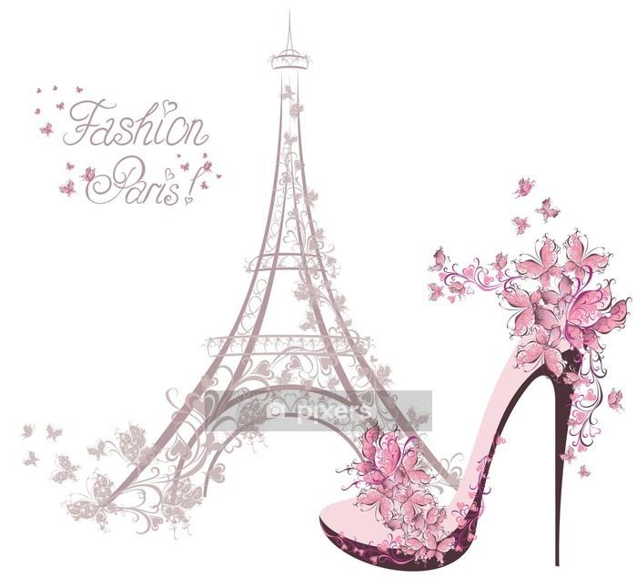 Muursticker Schoenen met hoge hakken op de achtergrond van de Eiffeltoren. Paris Fashion - Mode