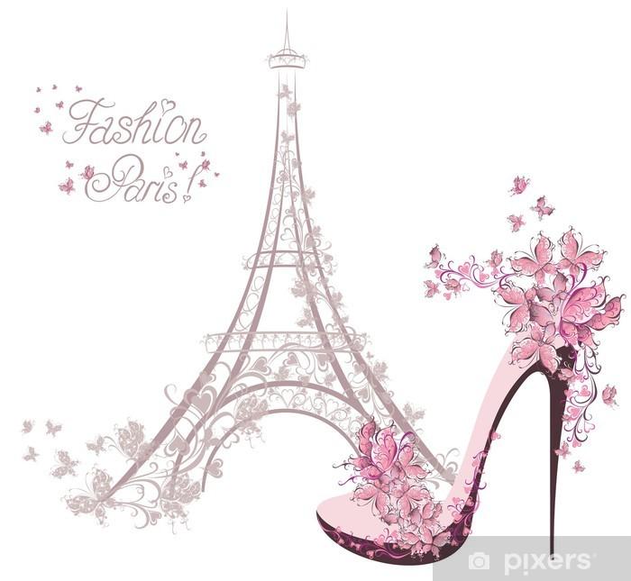 Naklejka Pixerstick Buty na wysokim obcasie na tle wieży Eiffla. Paris Fashion - Moda