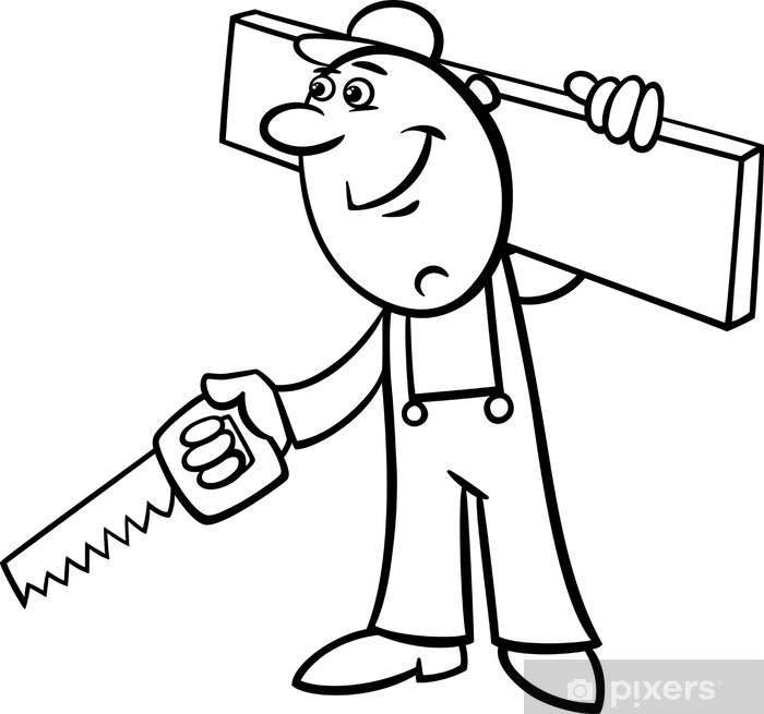 fototapete arbeitnehmer mit säge malvorlagen • pixers