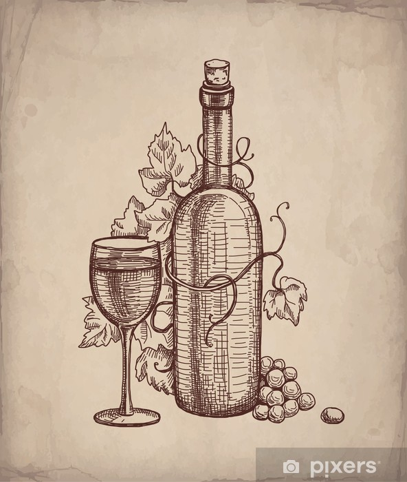 Pencil drawing of wine bottle Sticker • Pixers® • We live ...