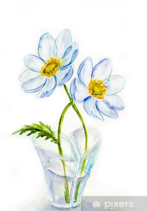Spring Flowers In Vase Heartshaped Watercolor Illustration