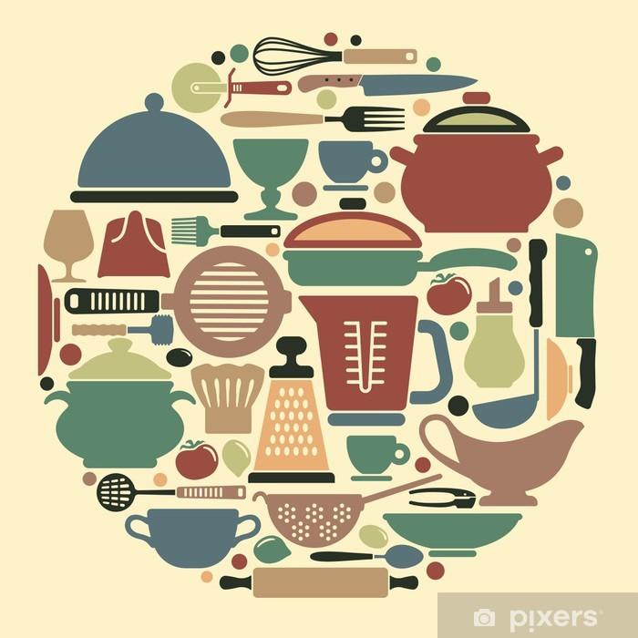 Vinyl Fotobehang Silhouetten van keukengerei en gebruiksvoorwerpen - Thema's