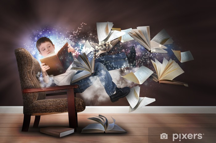 Imagination Boy Reading Books In Chair Wall Mural Pixers