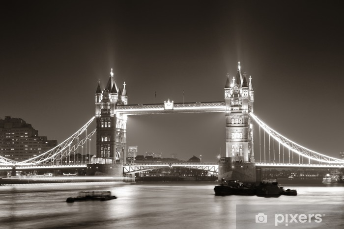 Vinyl Fotobehang Tower Bridge bij nacht in zwart-wit -
