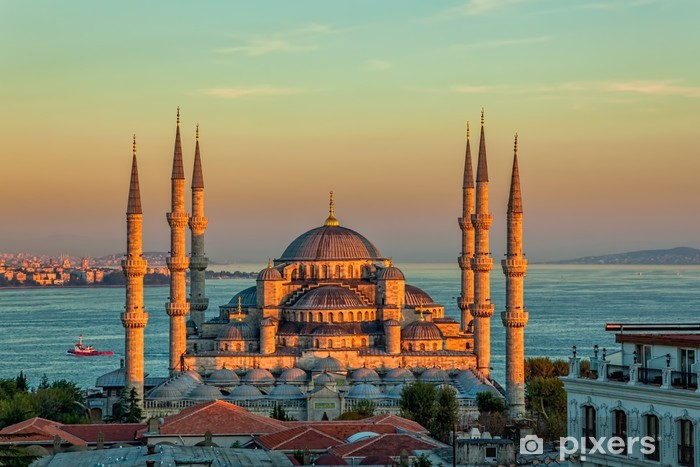 Blue mosque in Istanbul in sunset Vinyl Wall Mural - Themes
