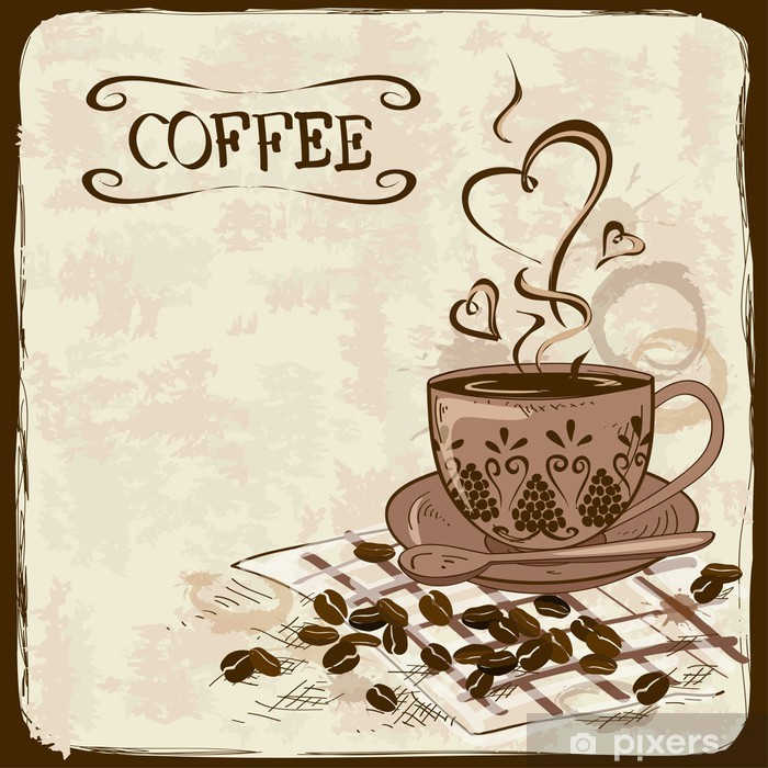 Fotomural Estándar Fondo del café con la taza - Para cafetería