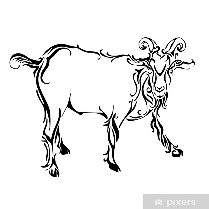goat tattoo vector Sticker • Pixers® - We live to change