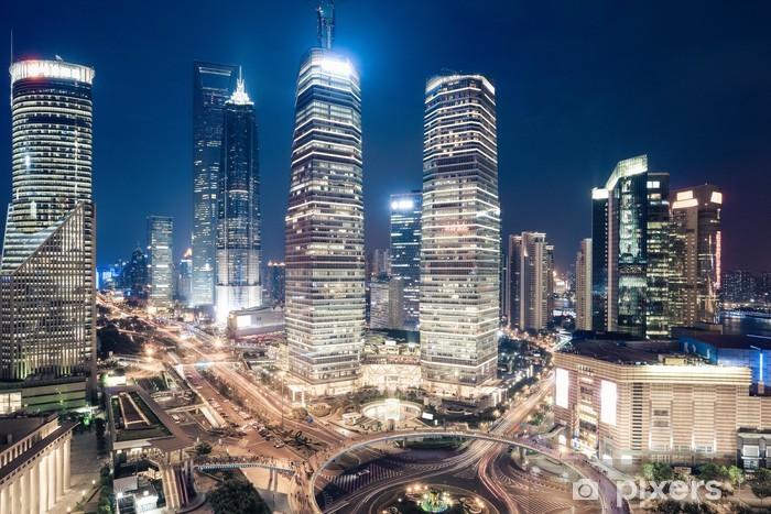 Pixerstick Sticker Shanghai downtown night view - Stedelijk
