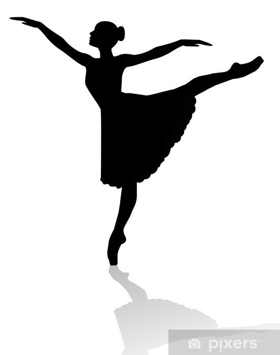 Silhouette Di Ballerina Su Sfondo Bianco Wall Mural Pixers We