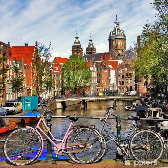 Vinyl Fotobehang Amsterdam, grachten en fietsen - Thema's