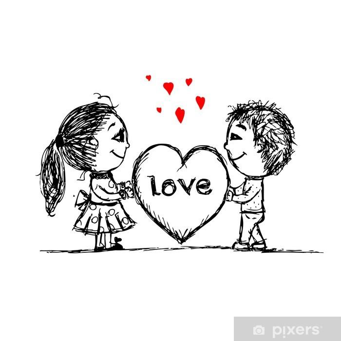 Carta Da Parati Coppia In Amore Insieme Schizzo Di San Valentino