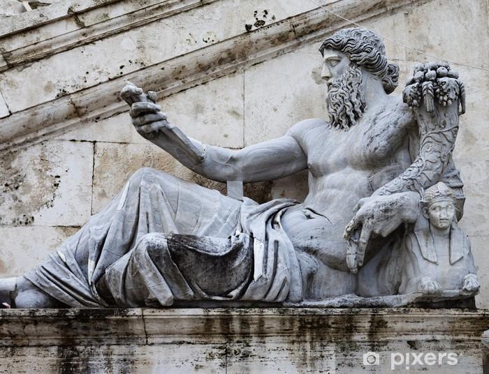 Vinyl Fotobehang Sculptuur van Tiber rivier in het Capitolium. - Europese steden