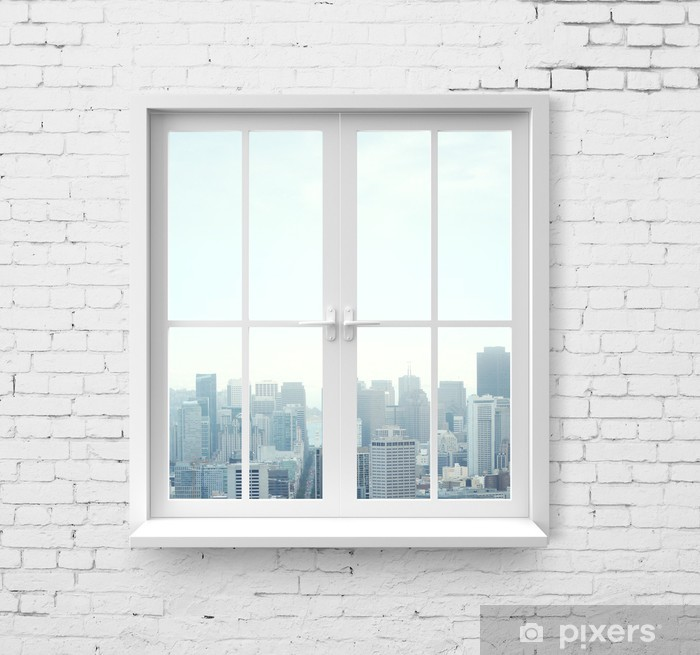 window with skyscraper view Vinyl Wall Mural - Themes