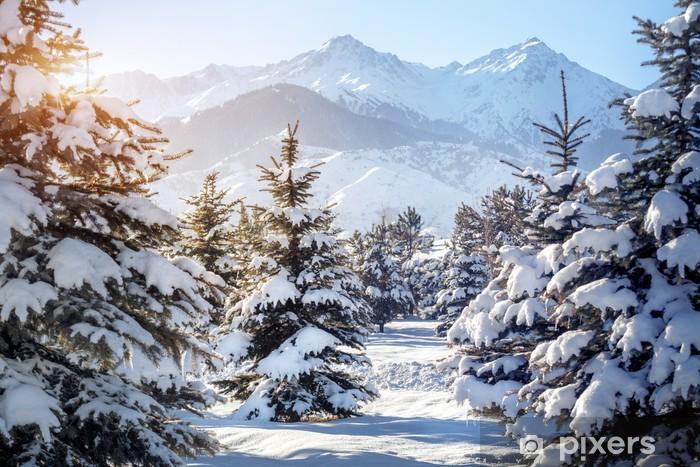 Afwasbaar Fotobehang Winterlandschap in de bergen - Thema's